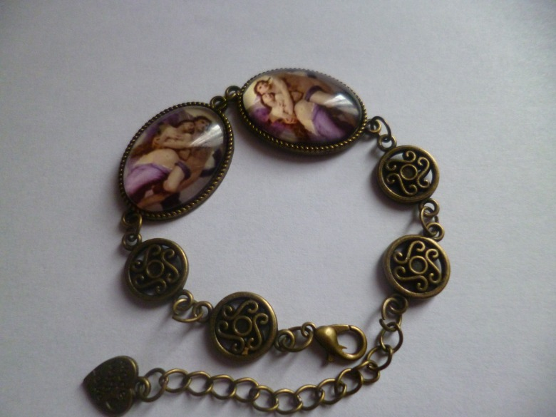 bracelet bronze double cabochon couple d'anges