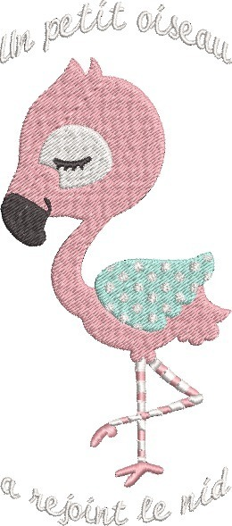 Motif de broderie machine Bébé Flamant Rose